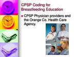 cpsp coding for breastfeeding education