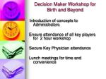 decision maker workshop for birth and beyond