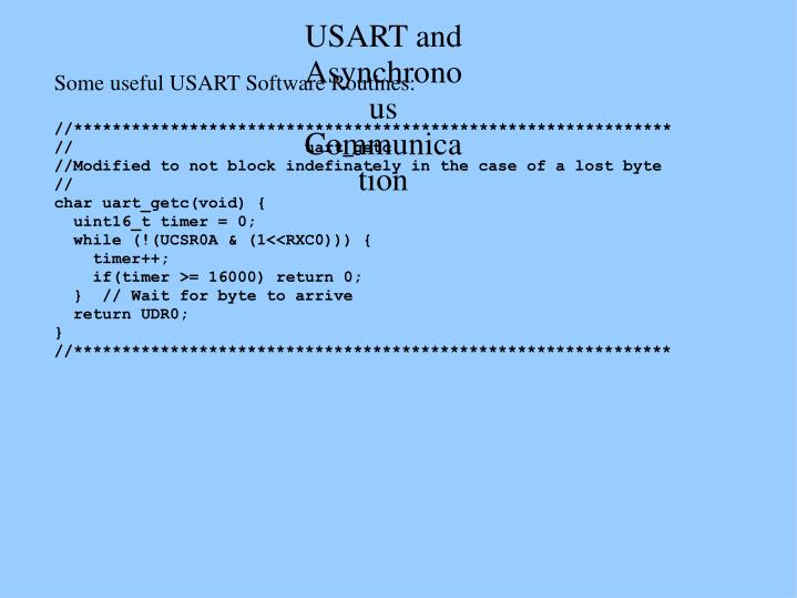USART and Asynchronous Communication