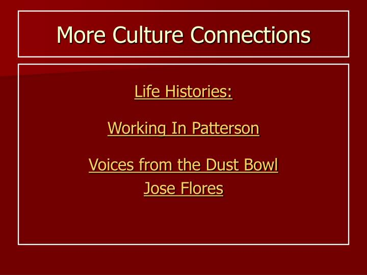 More Culture Connections