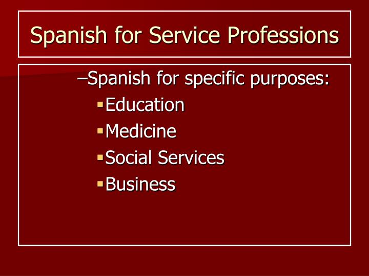 spanish for service professions n.