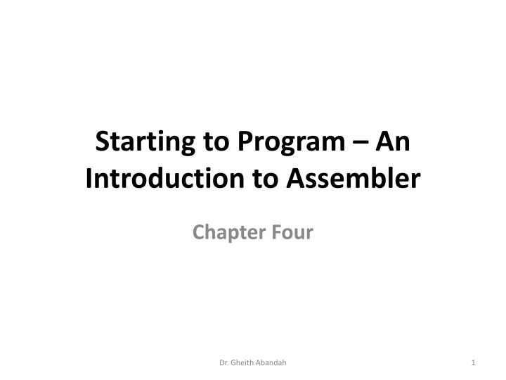starting to program an introduction to assembler n.