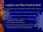 logistics and other practical stuff