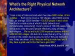 what s the right physical network architecture