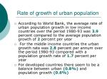 rate of growth of urban population
