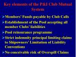 key elements of the p i club mutual system