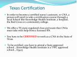 texas certification