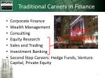 traditional careers in finance