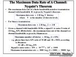 the maximum data rate of a channel nyquist s theorem