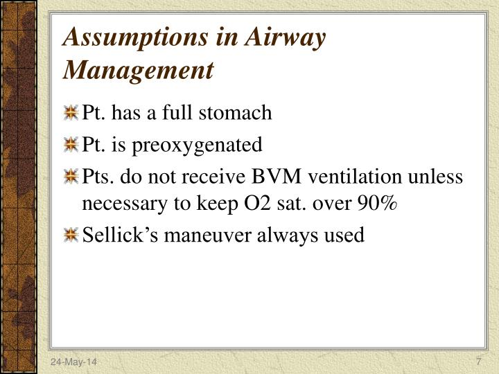 Assumptions in Airway Management