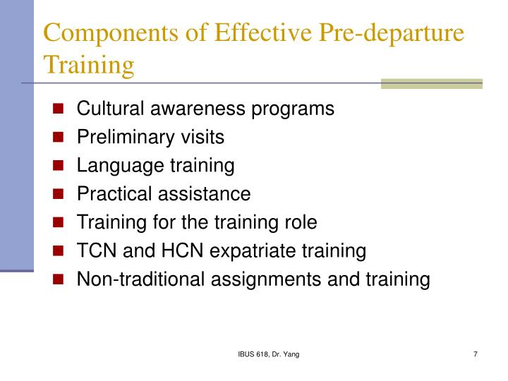 Components of Effective Pre-departure Training