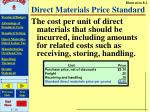 direct materials price standard
