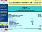 statement presentation of variances