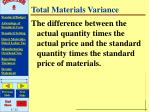 total materials variance