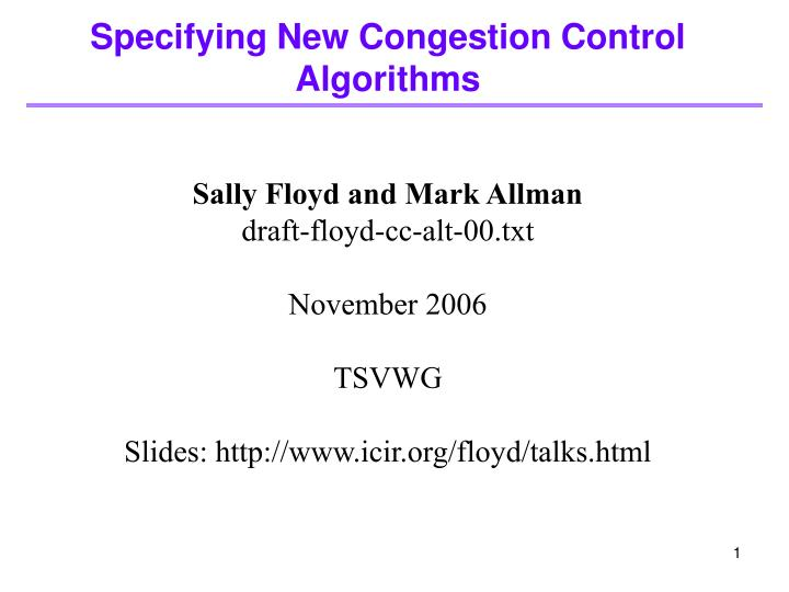 specifying new congestion control algorithms n.