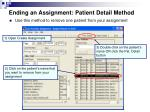 ending an assignment patient detail method