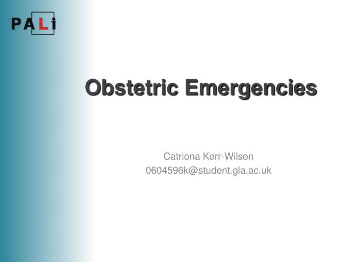 obstetric emergencies n.