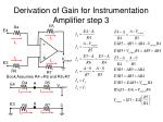 derivation of gain for instrumentation amplifier step 3