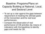 baseline programs plans on capacity building at national local and sectoral level