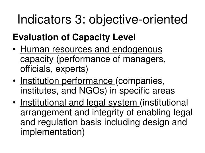 Indicators 3: objective-oriented