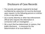 disclosure of case records