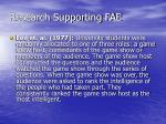 research supporting fae1