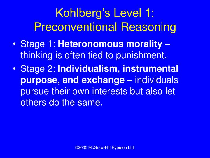 Kohlberg's Level 1: Preconventional Reasoning