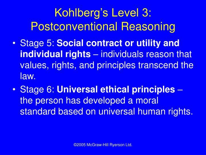 Kohlberg's Level 3: Postconventional Reasoning
