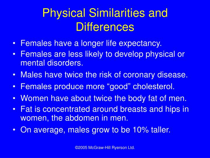 Physical Similarities and Differences