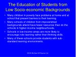 the education of students from low socio economic backgrounds