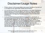 disclaimer usage notes
