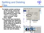 splitting and deleting clips
