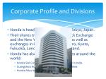 corporate profile and divisions