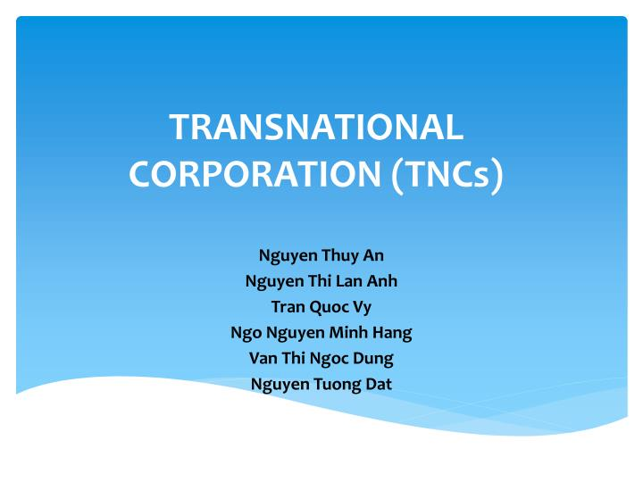 transnational corporation tncs n.