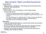 major accident higher level risk assessments