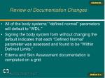 review of documentation changes