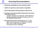 versioning recommendations