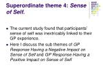 superordinate theme 4 sense of self