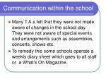 communication within the school