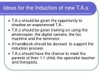 ideas for the induction of new t a s
