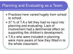 planning and evaluating as a team