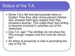 status of the t a