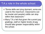 t a s role in the whole school1