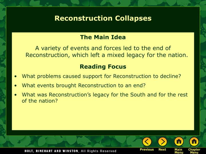 reconstruction collapses n.