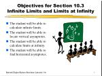 objectives for section 10 3 infinite limits and limits at infinity