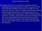 early formulation of da