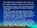 the difference between the unity of the night and the unity of the horizon