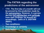 the fatwa regarding the predictions of the astronomer