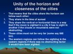 unity of the horizon and closeness of the cities