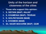 unity of the horizon and closeness of the cities1